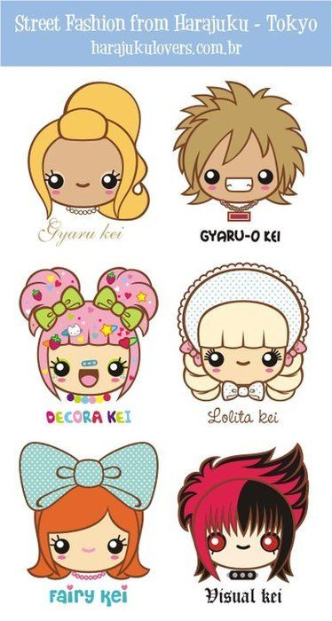 Japanese fashion types. I love decora, lolita, fairy, and visual