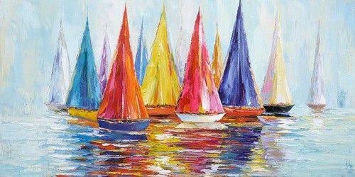 schilderij boten 70x140 | Schilderijenshop