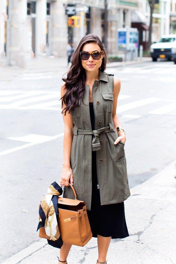 Military Vest in Soho - Olivia Palermo vest // Tibi dress c/o Stuart Weitzman heels // Hermes bag Vintage scarf // Cuff // Sunnies Thursday, May 12, 2016