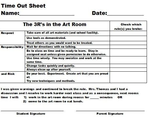 Tamara Thomas Art Teaching Portfolio: Elementary and Middle School Discipline Plan