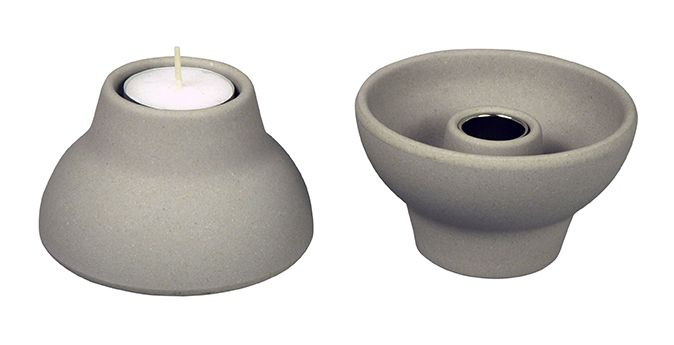 DOUBLE-UP Candleholder and tealight. Design: Jorine Oosterhoff. Made from bamboo-fiber. With metal cup. color: Stone Grey