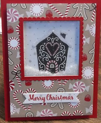 Stampin' on the Prairie: Mica Flakes, shaker card, candy cane lane dsp