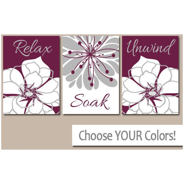 Maroon Bathroom Wall Art Canvas or Prints Gray Bathroom Decor Pictures... (1.755 RUB) ❤ liked on Polyvore featuring home, home decor, wall art, bathroom, bathroom décor, home & living, silver, photo picture, 3 pc wall art and grey wall art
