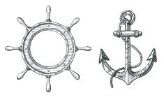 Hand drawn illustration of an anchor and a steering wheel vector art illustration