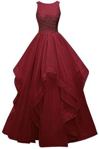 Pretty Burgundy Long Ball Gown Beading Prom Dresses K38