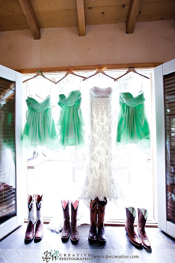 Love this picture! Besides taking a picture of just the bride's dress, take one with all the bridesmaids dresses as well!