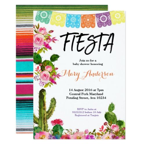 Mexican Fiesta Baby Shower Invitation