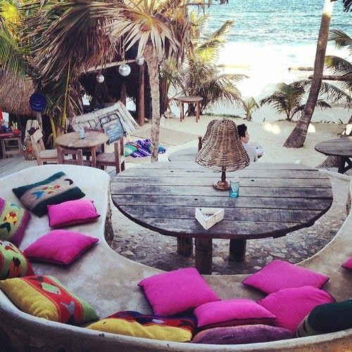 Beach club. Papaya Playa Project by @Design Hotels™. - @BlissfulWhimsyEvents