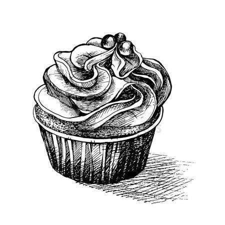 Stáhnout - Vektorové ilustrace černobílé skici roztomilý krémový sladké košíčky s velkými polevou. lze použít pro blahopřání nebo pozvánky na večírek — Stocková ilustrace #130066066