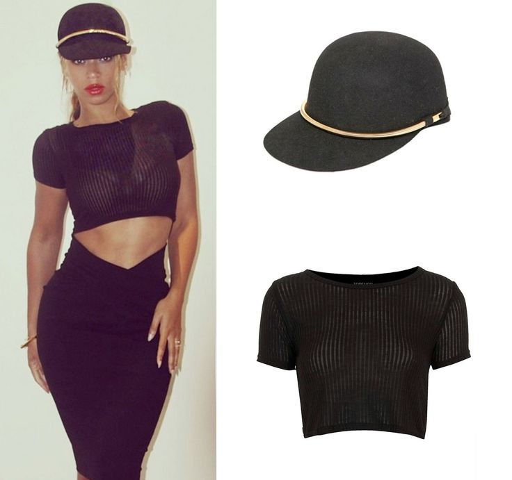 Beyoncé Was Wearing Lanvin Rabbit Fur Felt Visor Hat ($695) & TOPSHOP Skinny Rib Crop Top ($16)