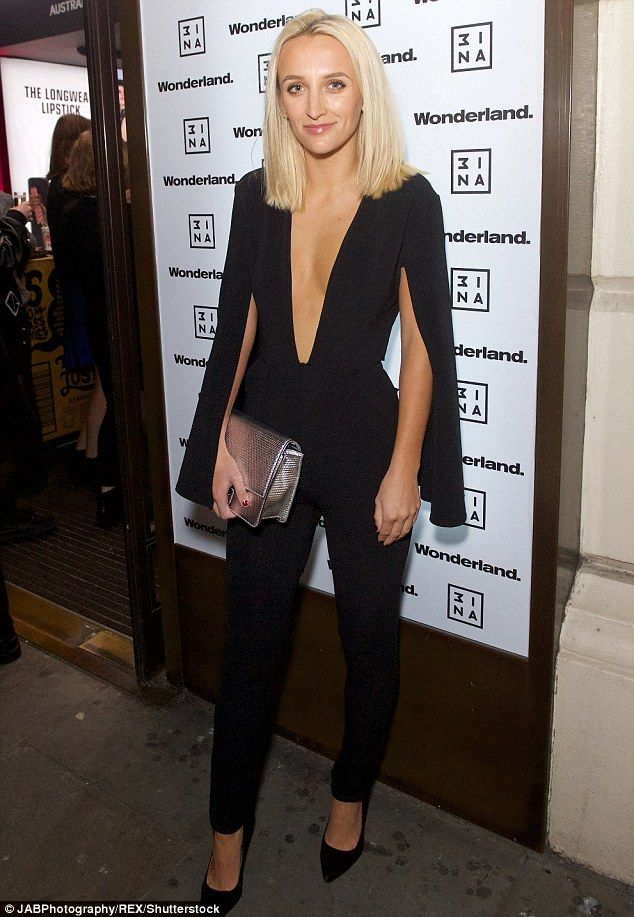 Turning heads: The Made In Chelsea star, 22, dazzled in a racy jumpsuit with a deep plunging neckline, completing her outfit with some pointed heels