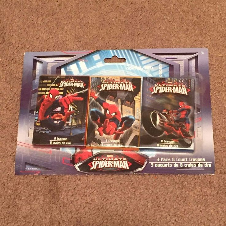 Marvel Ultimate SPIDER-MAN 3 Pack 8 Count Crayons (Toys, Hobbies) New, Packaged  #SpiderMan
