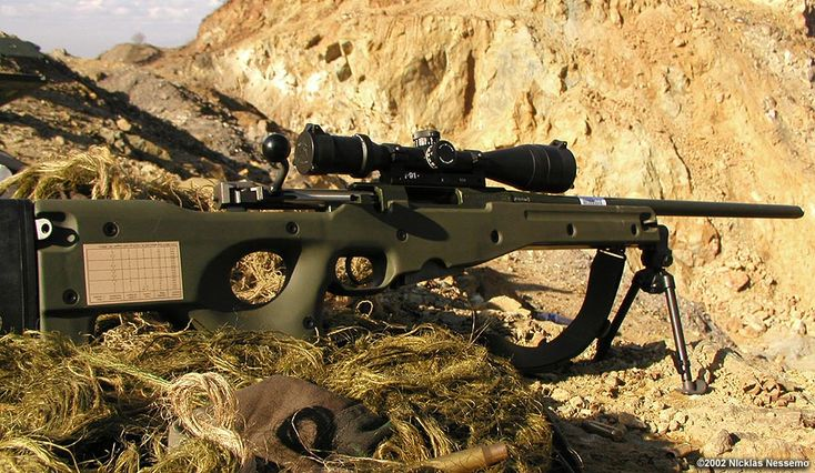 Swedish sniper rifle Prickskyttegevär 90 (Psg90) is a specially developed version of the famous Brittish Accuary International L96A1 called L96A1 AW. AW stands for Arctic Warfare. Caliber: 7,62 mm NATO (7,62x51)