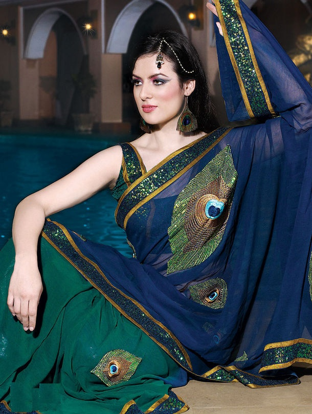 Teal Georgette Designer Saree with Blouse