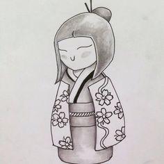 Monica Fabiano disegno a matita per tatuaggio- kokeshi