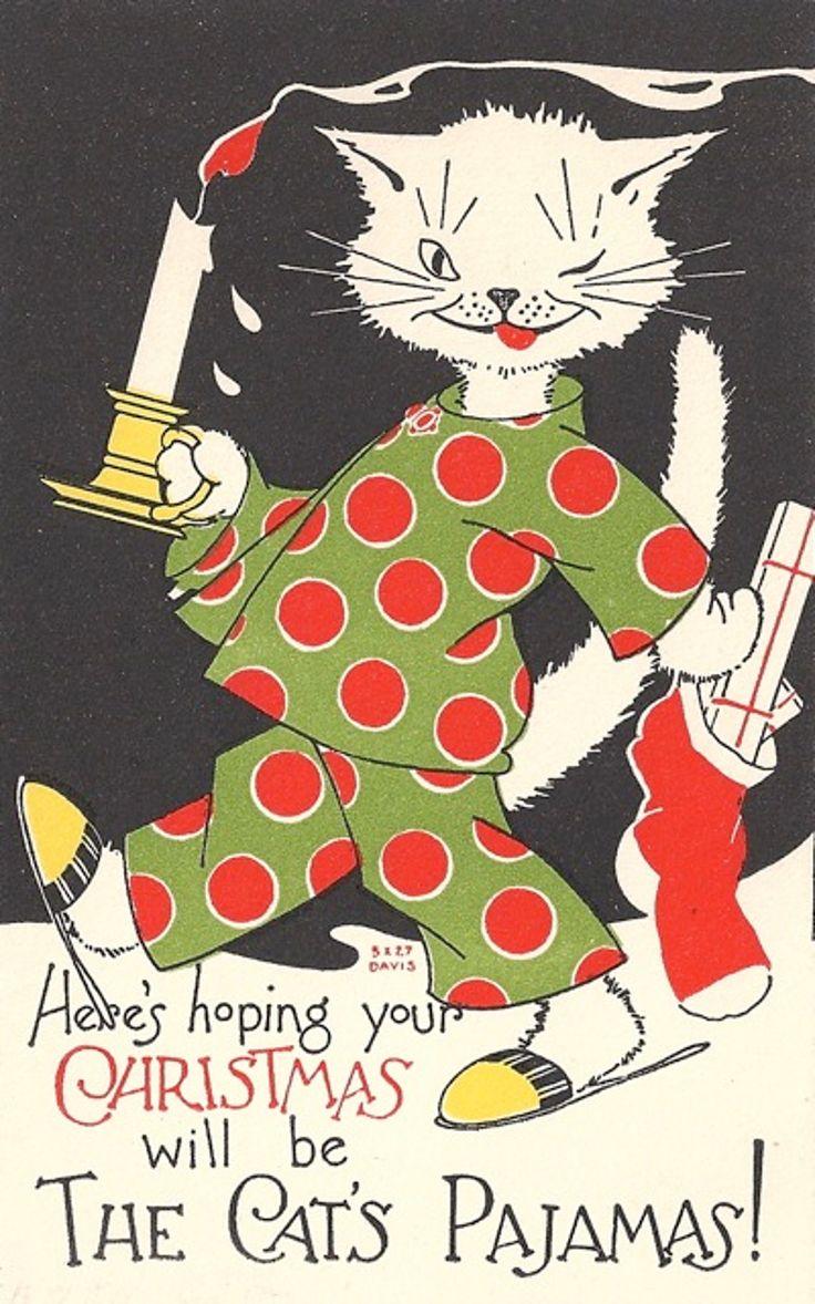 Cat's pyjamas vintage Christmas card.