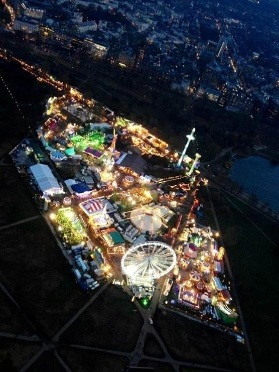 Awesome ariel photo of Winter Wonderland at Hyde Park London.