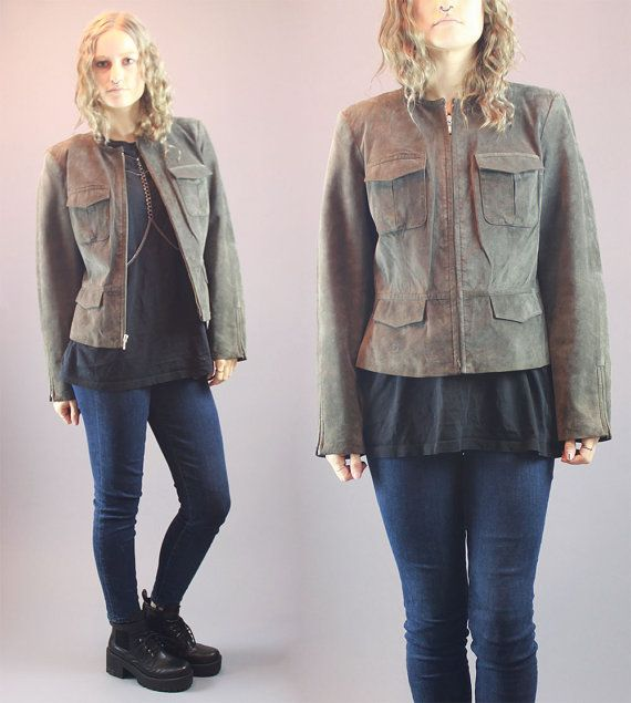 Vintage 90s Leather Jacket Genuine Leather by BadassVintageRevival