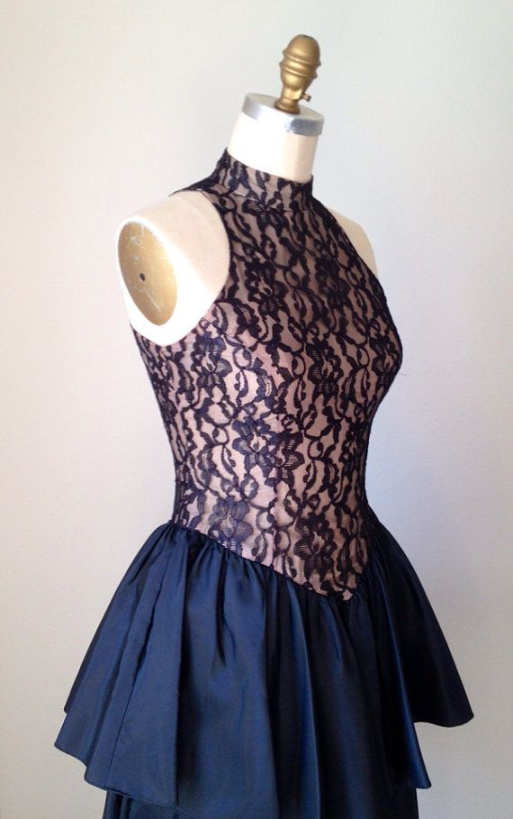 Black Lace Peplum Party dress - Black & Nude vintage sleeveless Dress - LBD Rob Hill for Mister Jay 1990s Dress on Etsy, $100.00