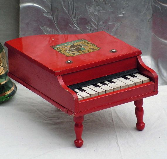Red Baby Grand Piano Vintage Wooden Toy Home Decor Japan