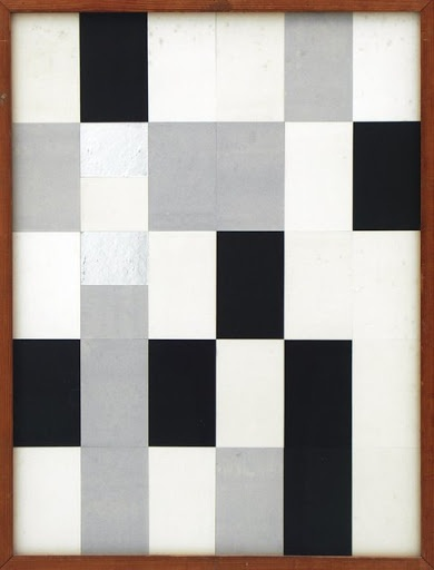 """Jean Arp (1888-1966) and Sophie Taeuber-Arp (1889-1943) """"Untitled (Duo-Collage)"""", 1918. Paper, board, silver leaf on board."""