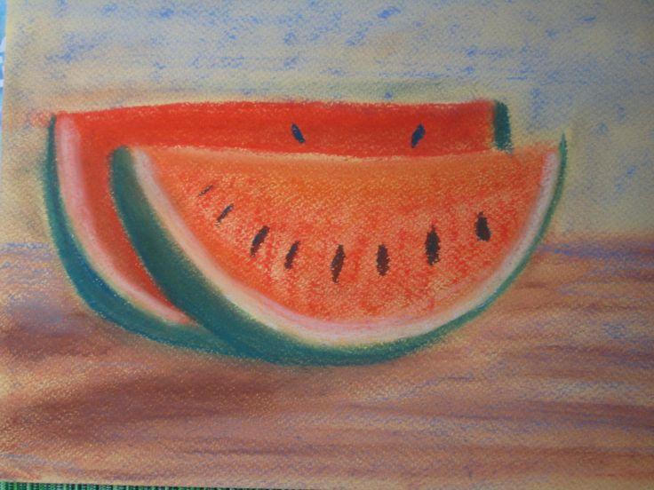 Melon, Pastel painting