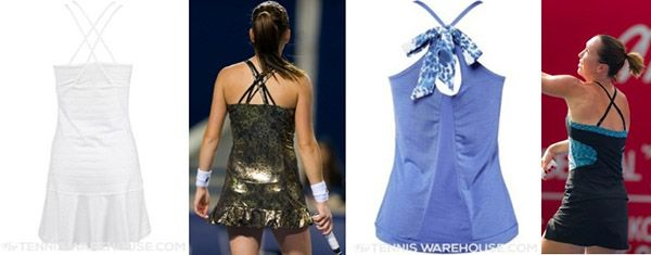 Via WTA: Power Of Extraordinary Back Designs-  Extraordinary back designs mean that outfits look striking both from the front and the back. Marija Zivlak of Women's Tennis Blog will shoCriss-cross straps are a common type of back design. Ana Ivanovic's adidas Fall All Premium Dress for Wimbledon has spaghetti straps at two levels, Agnieszka Radwanska's Lotto Lux Metallic Dress also has them... you those that marked 2015. - criss-cross straps