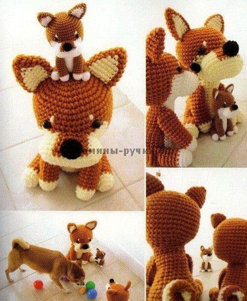 Собака Шиба вязаная крючком (амигуруми) (crochet dog shiba amigurumi)