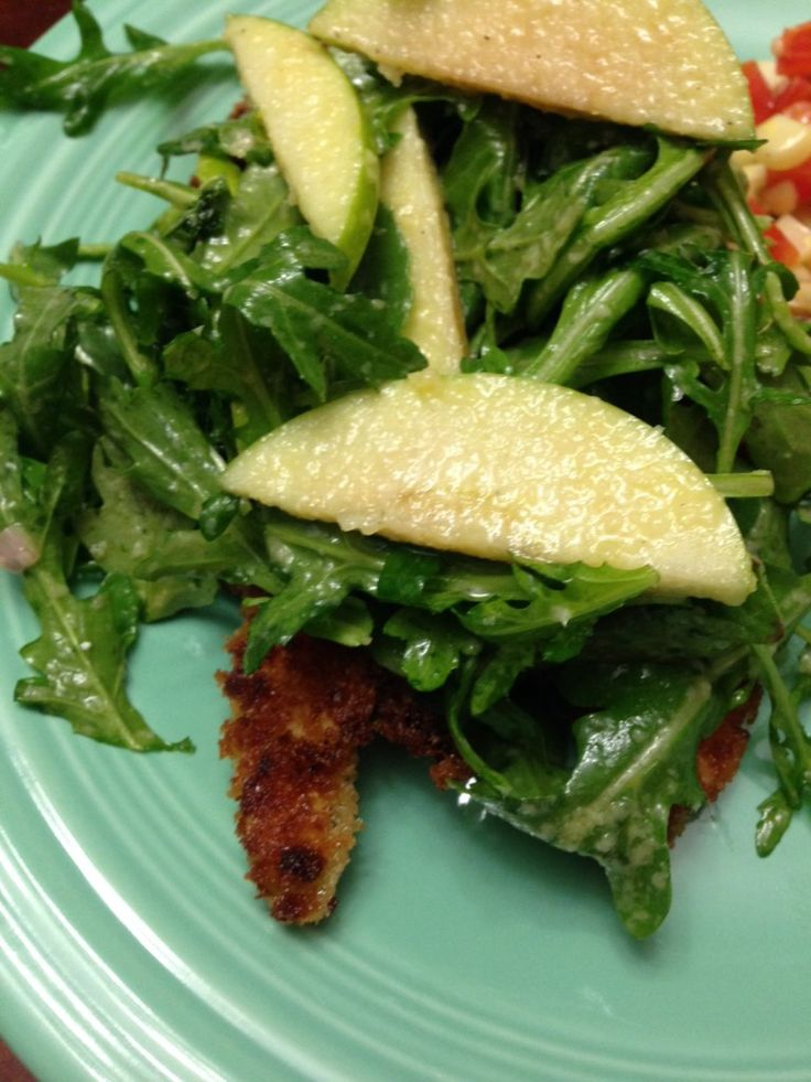 chicken milanese with green apple salad.