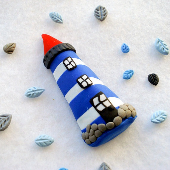 Lighthouse Brooch Nautical jewelry hand by Thelittlecreatures