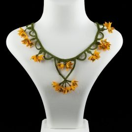 """Saffron Crocus"" silk lace jewelry necklace"