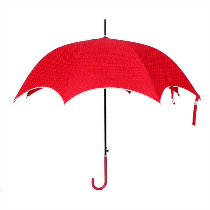 Red polka dot pagoda umbrella