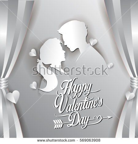 Happy valentines day vector greetings card lettering design with paper cut shape, couple mate in love and heart. isolated on curtain background