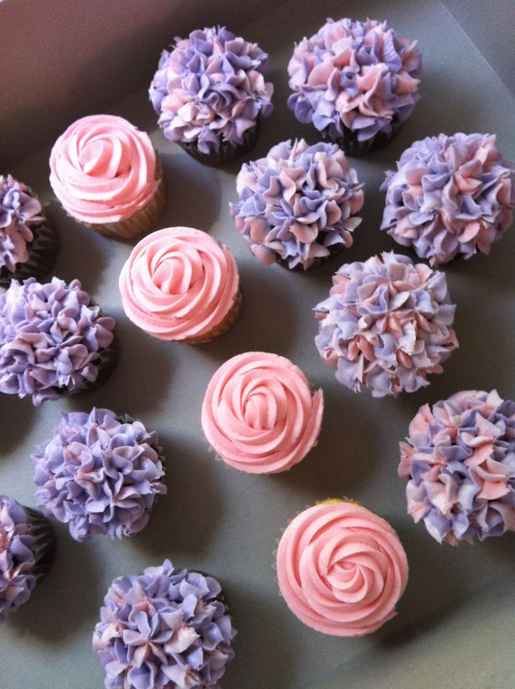 Roses and hydrangea cupcakes for a baby shower Sept 2011
