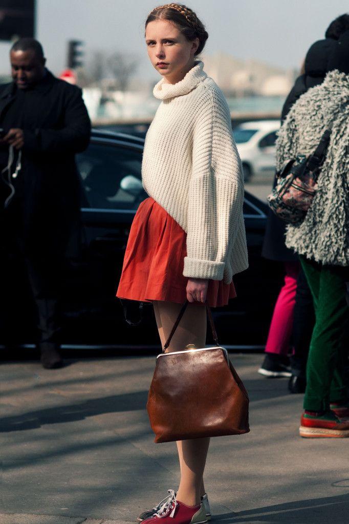 sweater over pleats