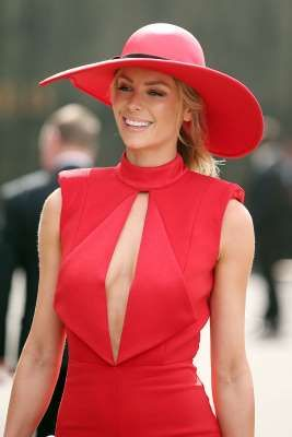 Jennifer Hawkins attends Melbourne Cup Day at Flemington Racecourse on November 1, 2016 in Melbourne, Australia.
