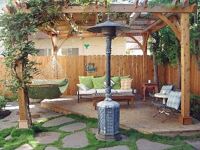 San Clemente house rental - Relaxing lounge area in one corner of backyard with pergola and patio heater