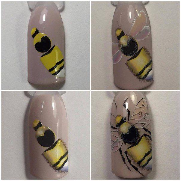 Рисунок пчелок на ногтях