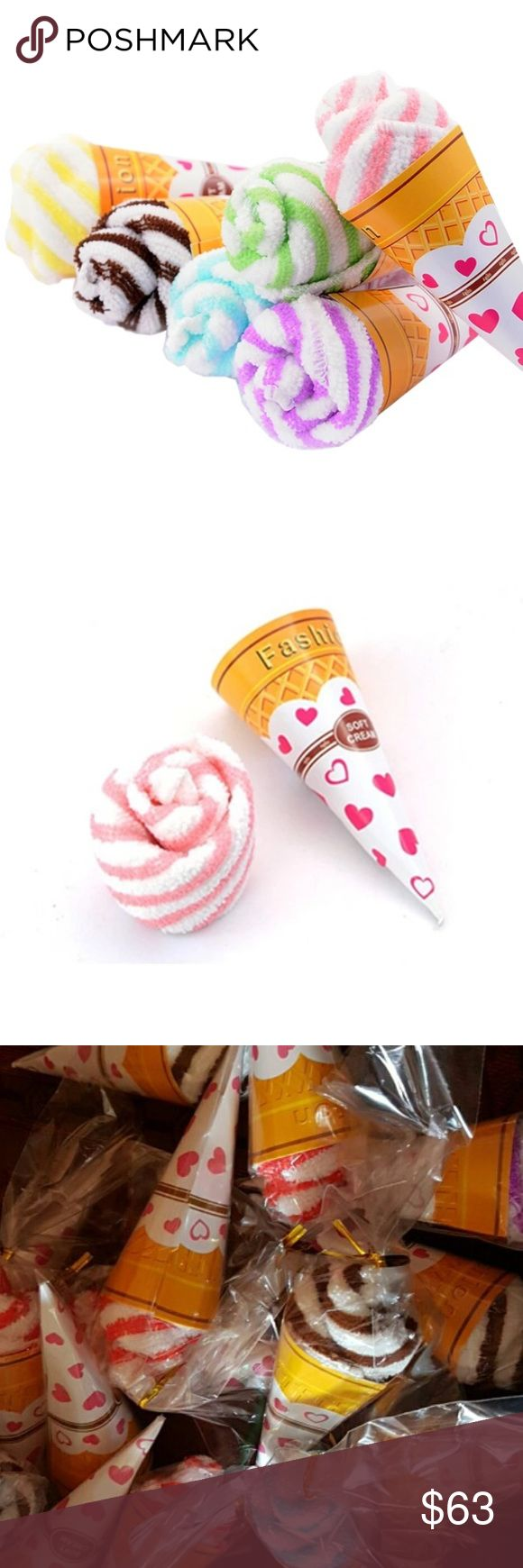Party Favors Ice Cream Towel Lot of 30 Fun & Cute Ice cream hand towel party favors. This is for a lot of 30 mixed colors. This is great for a kids party or bridal shower themed party decorations. Could be used for many deco ideas at desert table set up at a party. Great price. Other