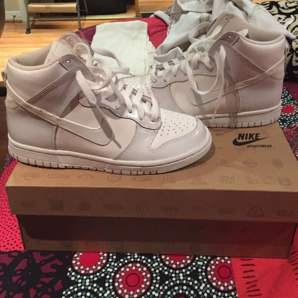 Shoes BRAND NEW never worn Nike dunk high in all white Nike Shoes Sneakers