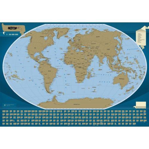 Scratch-off map The World, mapa zdrapka 1:50 000 000 tylko 81,90zł w ArtTravel.pl