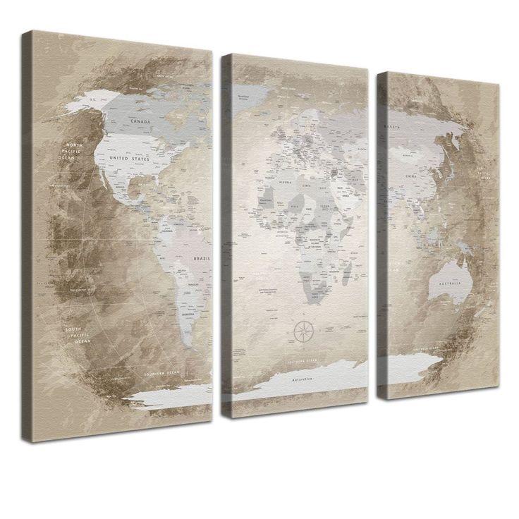 LanaKK® - mapamundi beige con corcho - versión Inglés, reproducción artística sobre lienzo premium en bastidor, tablón de notas para los trojoamundos, tamaño con bastidor tensado 120 x 80 cm, en tres secciones