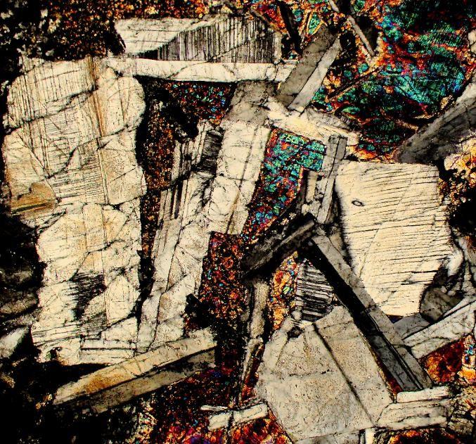 Millbillillie meteorite thin section viewed through a polarizing microscope