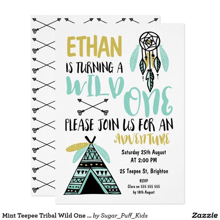 Mint Teepee Tribal Wild One Birthday Invitation