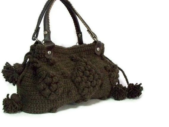 Women's Knit tote bag,Handmade Brown  Knit Bag, Celebrity Style,Crochet winter  bag-Nr:201-Gifts for mom,teacher gift