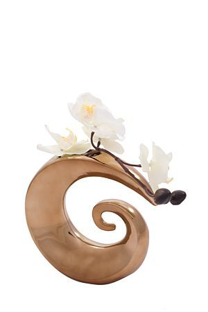 """This artificial orchid planted in a gold twist decorative vase is the perfect way to add a bit of elegance to a space.<div class=""""pdpDescContent""""><BR /><b class=""""pdpDesc"""">Dimensions:</b><BR />L20xW20xH18 cm</div>"""