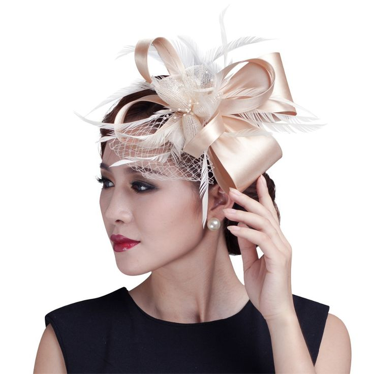 2017 women champagne feather flower Fascinator with bow ladies hair accessories wedding party floral headband Hairpin hair