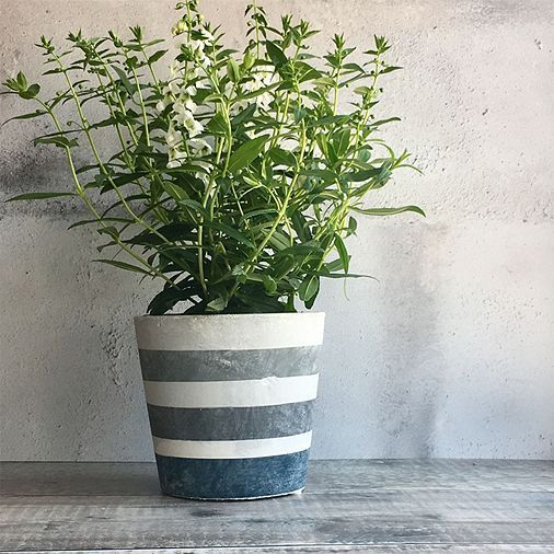 Tesco direct: Blue Striped Concrete Plant Pot Cover