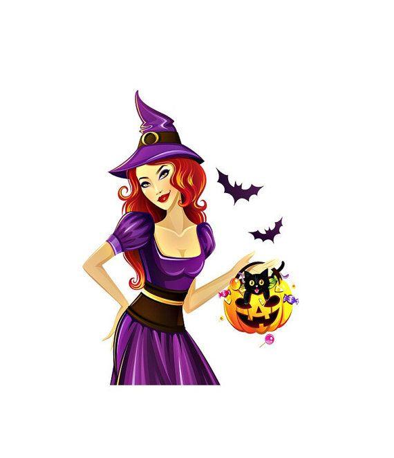 Halloween goede heks Image, paarse heks Bat pompoen Image, grote Teen heks, transparante knipsel, tiener kamer, muur, Home decor