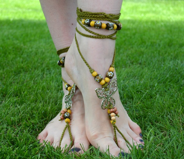 Green Barefoot Sandals Women Beach Sandals Bohemian Hippie Wedding Sandals Summer Accessories. $35.00, via Etsy.